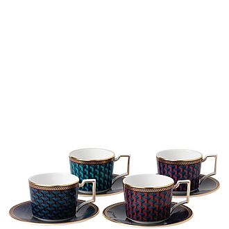 Byzance Set of 4 Espresso Cups and Saucers
