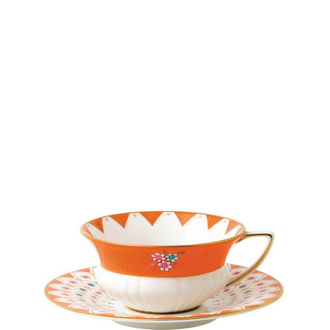 Wonderlust Peony Diamond Teacup and Saucer, ${color}