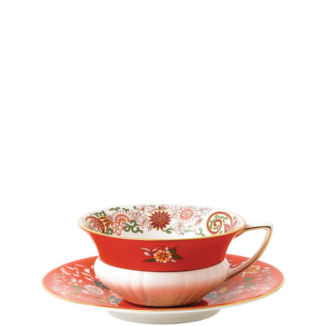 Wonderlust Crimson Orient Teacup and Saucer, ${color}