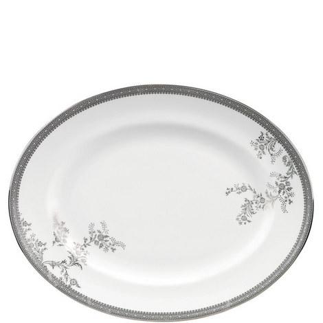 Vera Wang Lace Platinum Oval Dish 38.5cm, ${color}