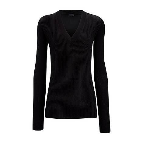 Ribbed V-Neck Sweater, ${color}
