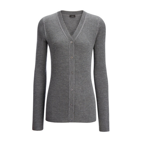 Ribbed V-Neck Cardigan, ${color}