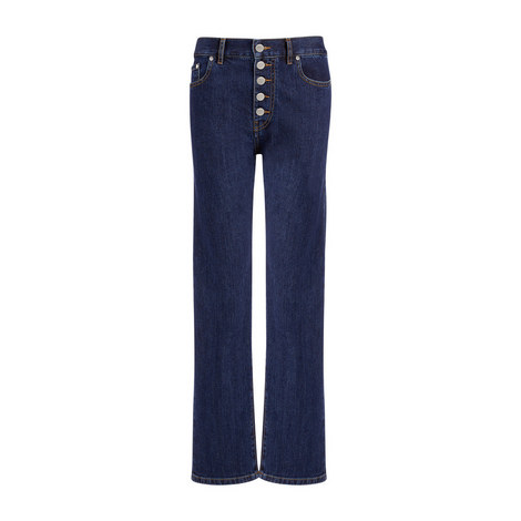 Stretch-Fit Straight Den Jeans, ${color}