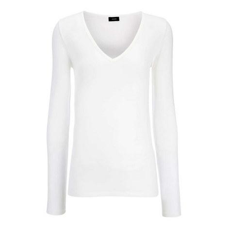 V-Neck Cotton Stretch Top, ${color}