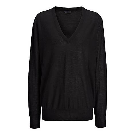 Cashair Patch V-Neck Knit, ${color}