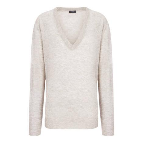 Intarsia V-Neck Sweater, ${color}