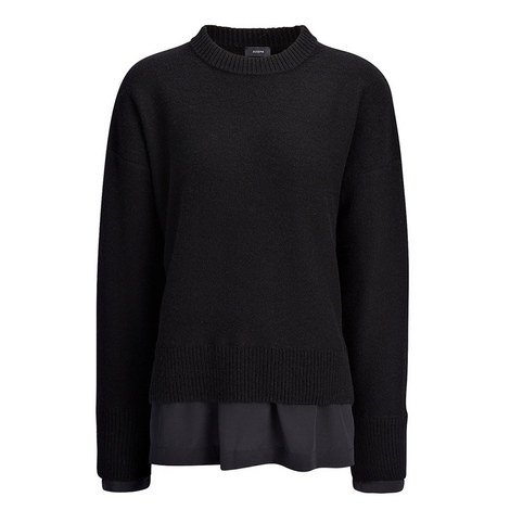 Wool-Cashmere Crepe-de-Chine Top, ${color}
