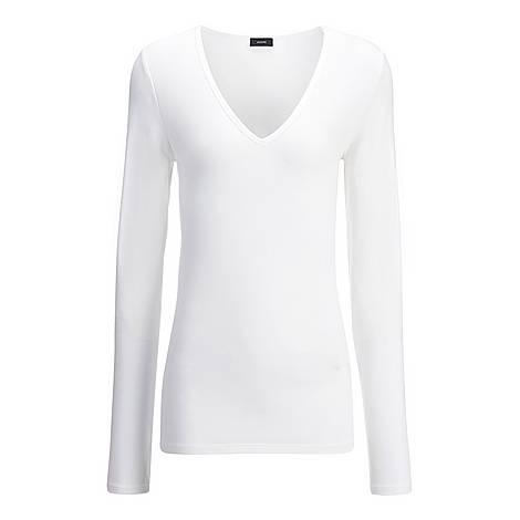 V-Neck Cotton Lyocell Top, ${color}