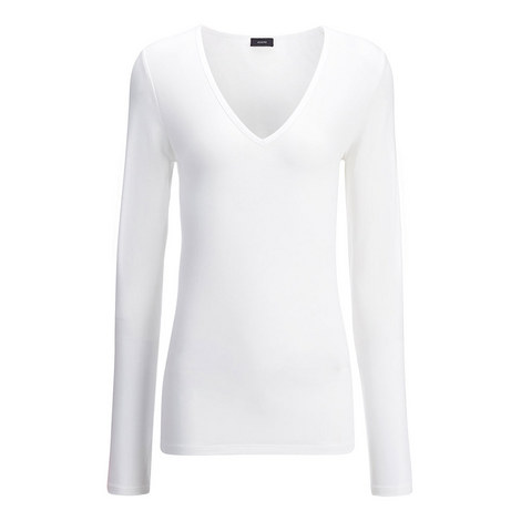 V-Neck Cotton Lyocell Top, ${color}
