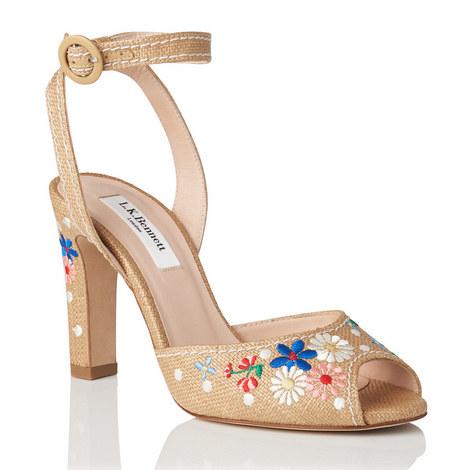 Sandi Embroidered Raffia Sandals, ${color}