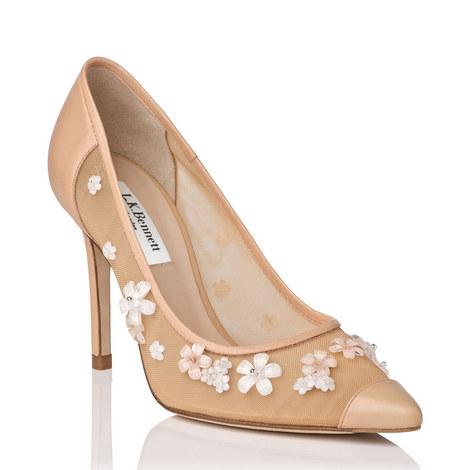 Fiore Embroidered Raffia Shoes, ${color}