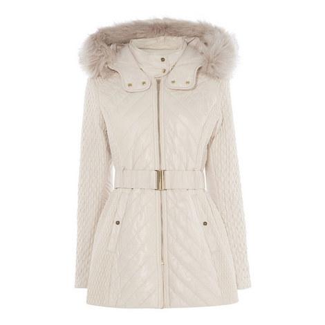 Faux Fur Quilted Coat, ${color}
