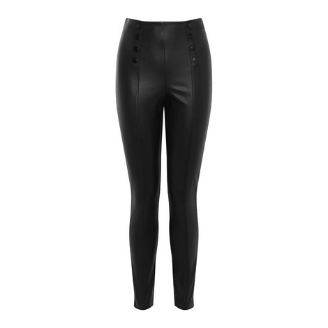 Buttoned Faux Leather Leggings, ${color}