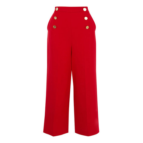 Statement Button-Waist Trousers, ${color}