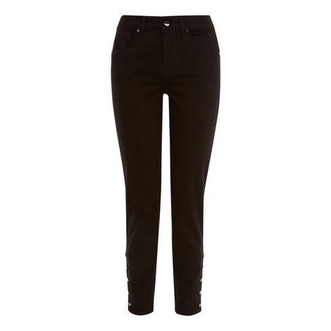 Button Hem Skinny Jeans, ${color}
