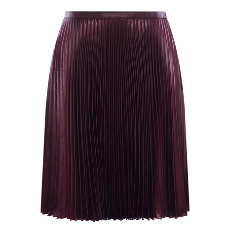 Pleated Wet Look Skirt, ${color}