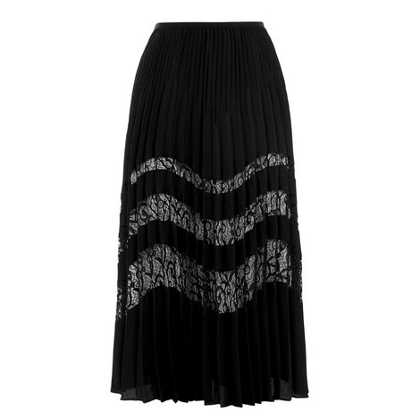 Lace Insert Pleated Skirt, ${color}