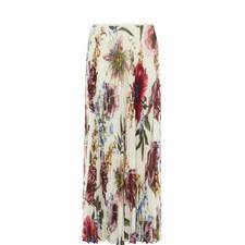 Botanical Bloom Pleated Maxi Skirt