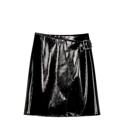 Faux Leather Wrap Skirt, ${color}