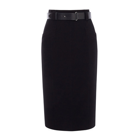 Leather Belt Pencil Skirt, ${color}