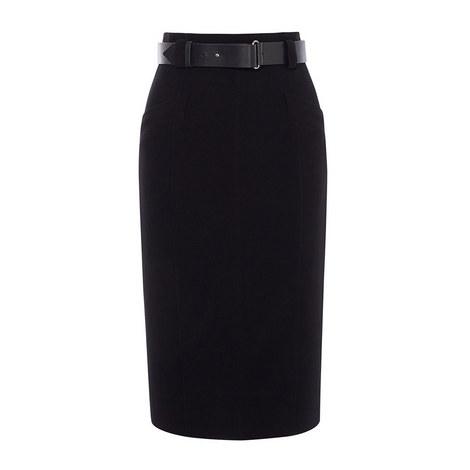 Leather Belt Pencil Skirt, ${color}