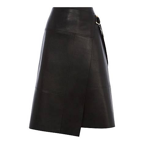Faux-Leather Wrap Skirt, ${color}