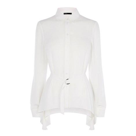 Belted Asymmetric Hem Shirt, ${color}