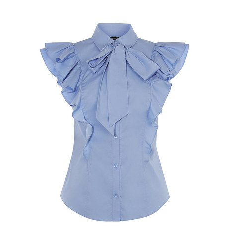 Pussybow Frilled Shirt, ${color}