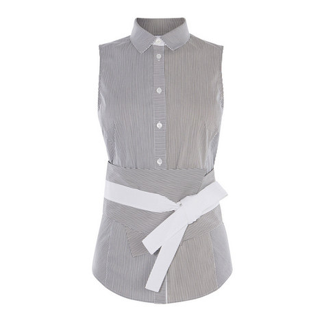 Sleeveless Obi Belt Shirt, ${color}