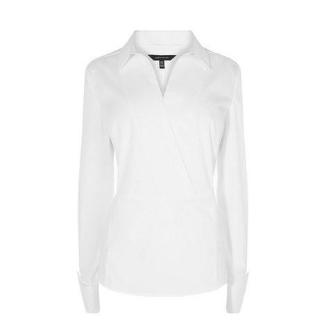 Tailored Wrap Cotton Shirt, ${color}