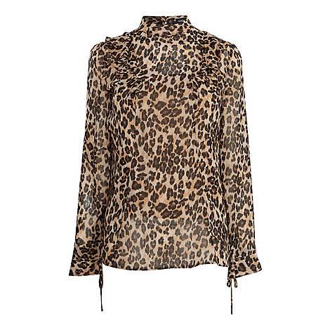 Leopard Print Ruffled Blouse, ${color}
