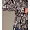 Snakeskin Print Wrap Blouse, ${color}