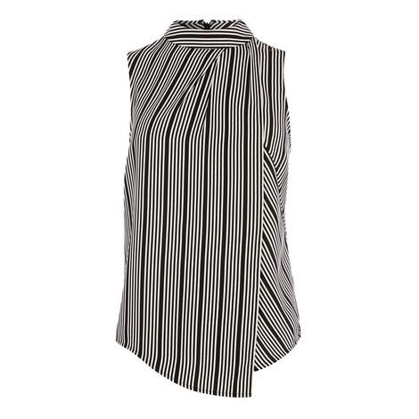Sleeveless Asymmetric Striped Top, ${color}