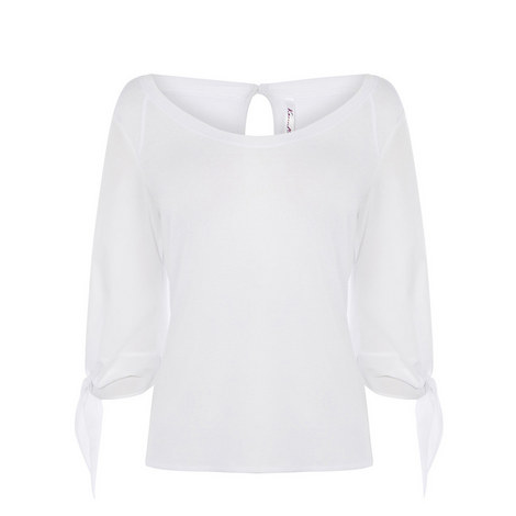 Gathered Sleeve Jersey Top, ${color}