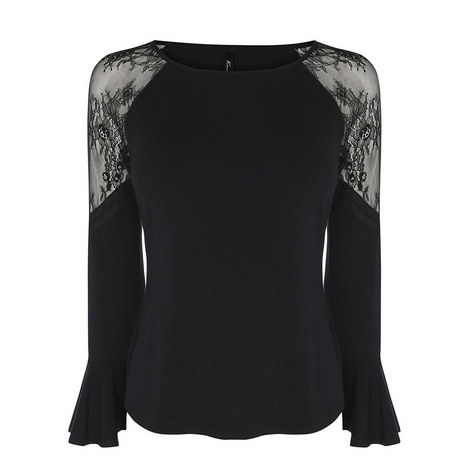 Victoriana Jersey Lace Top, ${color}