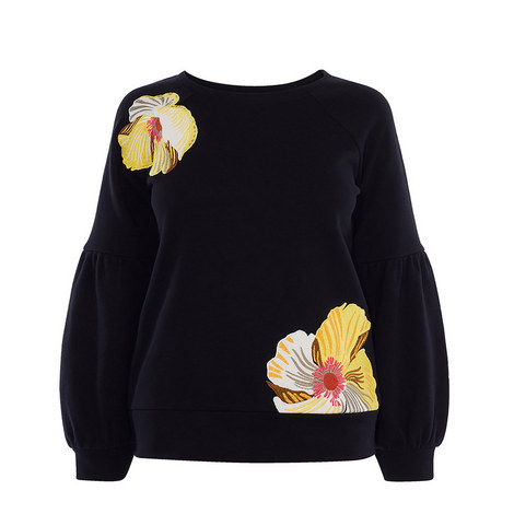 Floral Embroidered Sweatshirt, ${color}