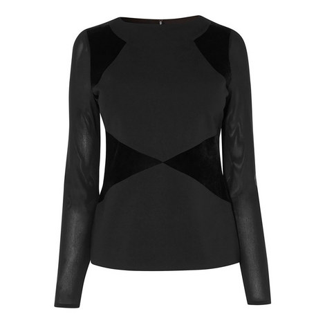 Panelled Long Sleeved Top, ${color}