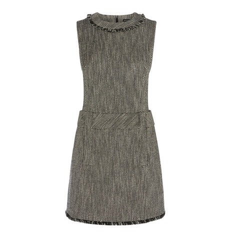 Fringed Tweed Dress, ${color}