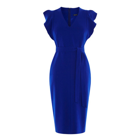 Ruffled V-Neck Pencil Dress, ${color}