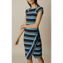 Ponte Stripe Pencil Dress, ${color}