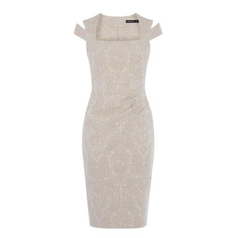 Jacquard Bodice Fit Dress, ${color}