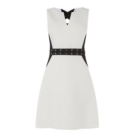 Eyelet Trim A-Line Dress, ${color}