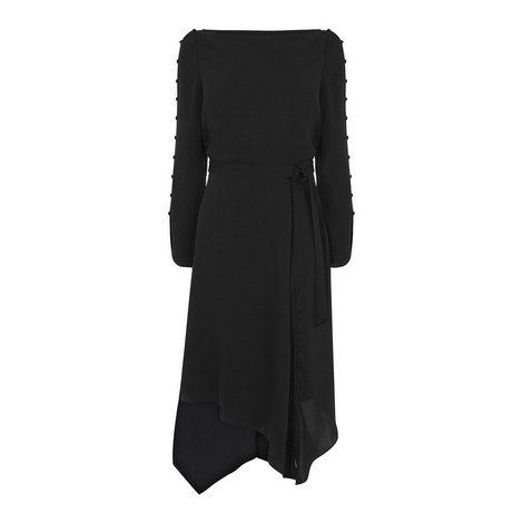 Button Trim Asymmetric Midi Dress, ${color}