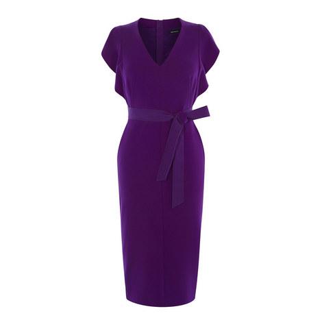 Flute Sleeve Belted Dress, ${color}