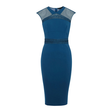 Lattice Trim Pencil Dress, ${color}