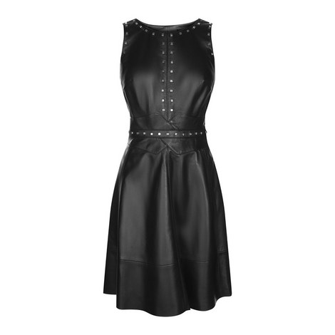 Studded Bodice Leather Dress, ${color}