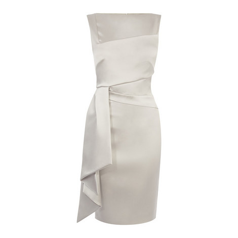Origami Pleat Satin Dress, ${color}