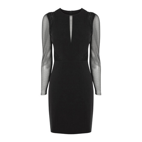 Sheer Insert Bodycon Dress, ${color}