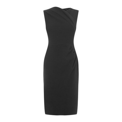 Asymmetric Neckline Pencil Dress, ${color}