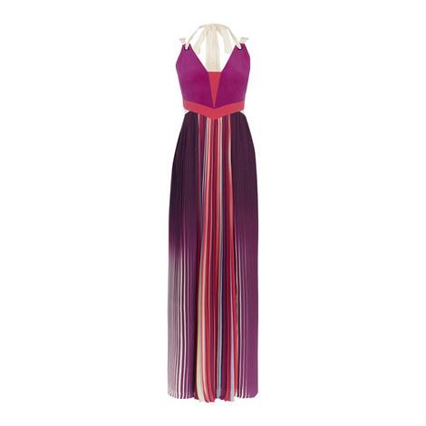 Pleated Colour-Block Dress, ${color}